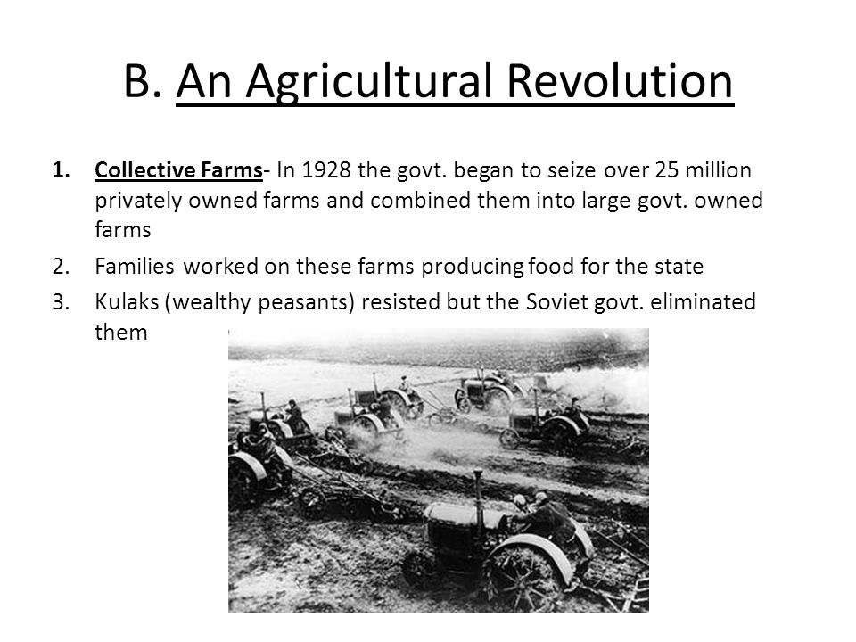 B. An Agricultural Revolution