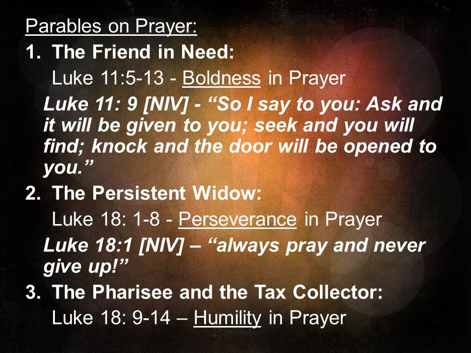 Parables on Prayer: The Friend in Need: Luke 11:5-13 - Boldness in Prayer.