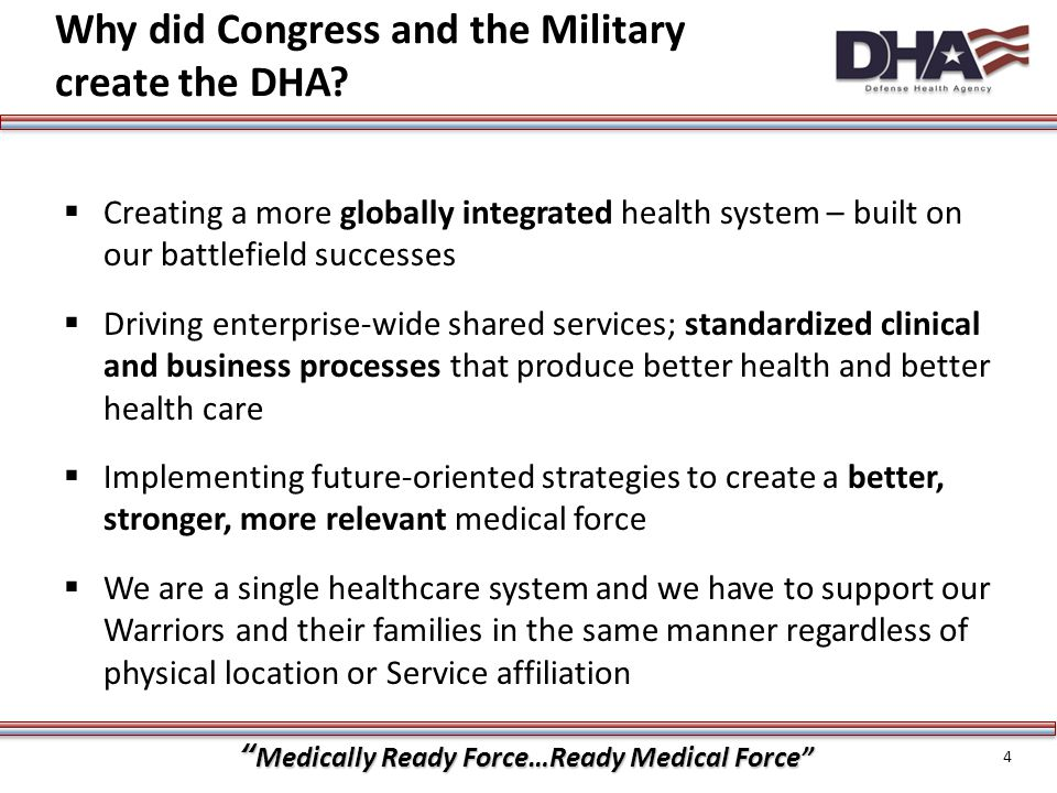 Why did Congress and the Military create the DHA