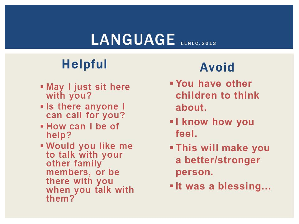 Language ELNEC, 2012 Helpful Avoid