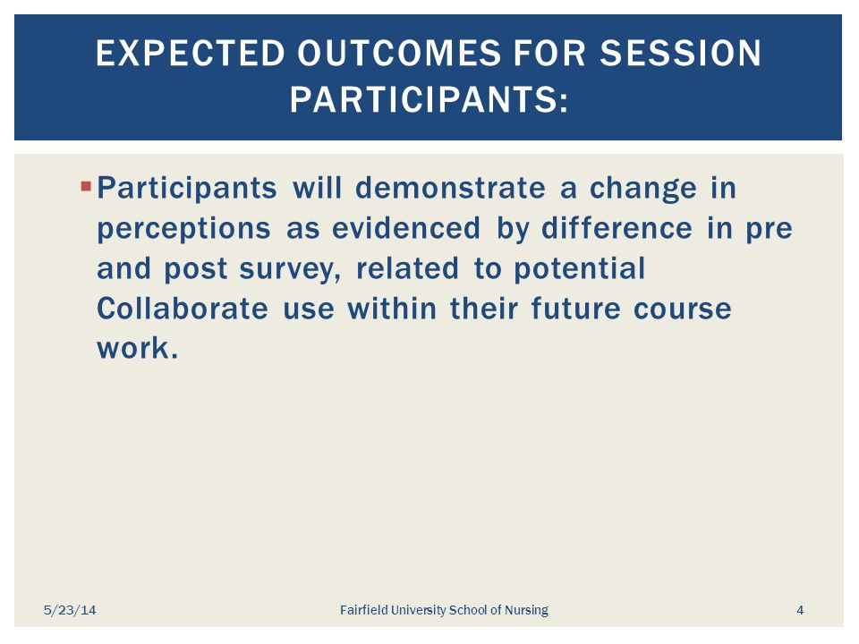 Expected outcomes for session participants: