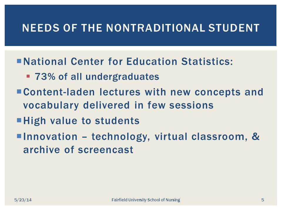 Needs of the Nontraditional Student
