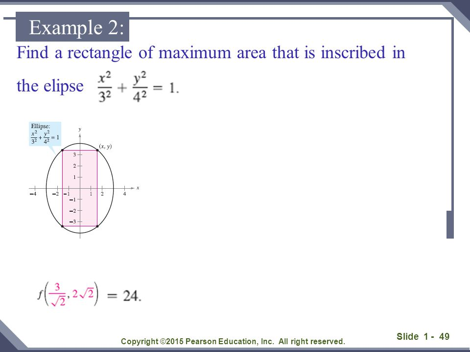 Find a rectangle of maximum area that is inscribed in the elipse