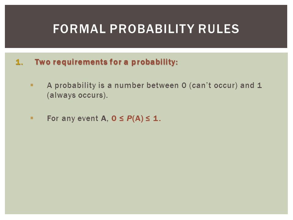Formal Probability Rules