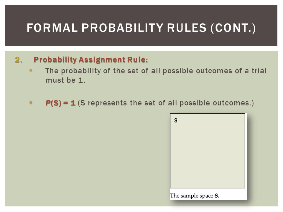 Formal Probability Rules (cont.)