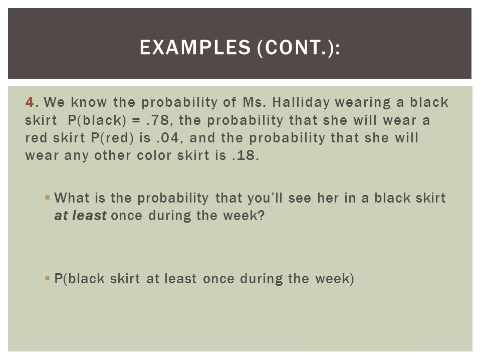 Examples (cont.):