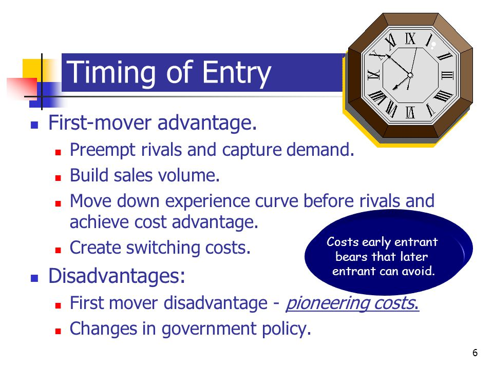 Timing of Entry First-mover advantage. Disadvantages: