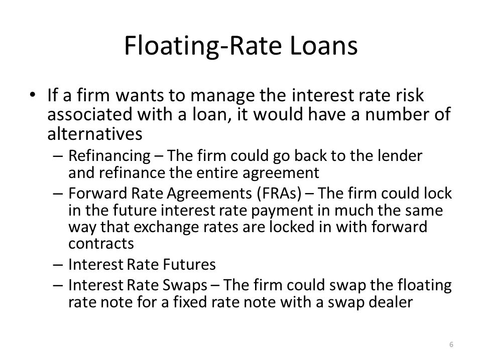 Floating-Rate Loans If a firm wants to manage the interest rate risk associated with a loan, it would have a number of alternatives.