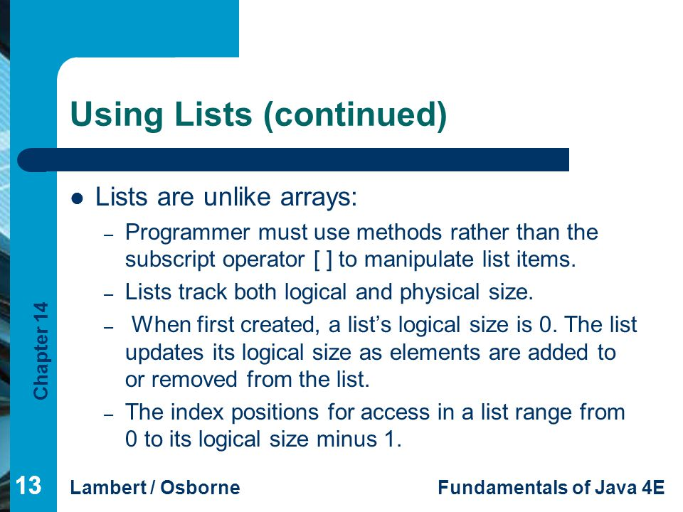 Using Lists (continued)