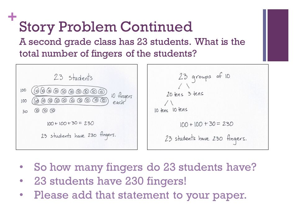 Story Problem Continued A second grade class has 23 students