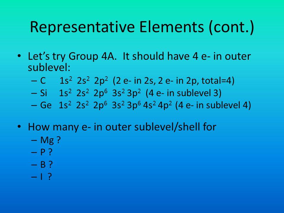 Representative Elements (cont.)