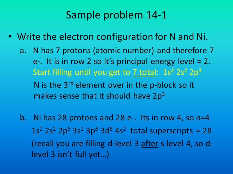 Sample problem 14-1 Write the electron configuration for N and Ni.