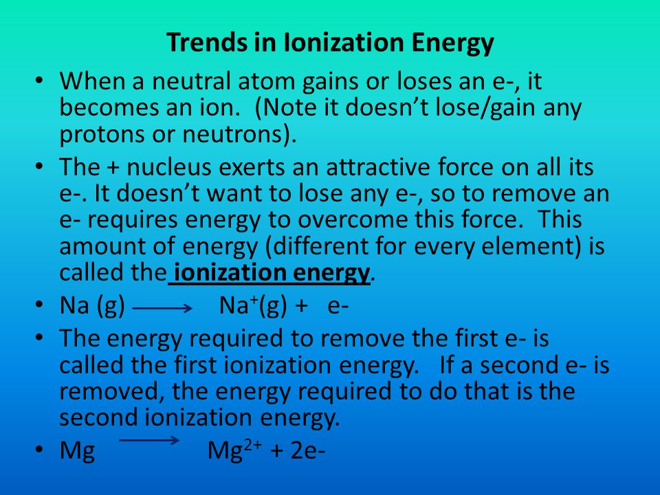 Trends in Ionization Energy