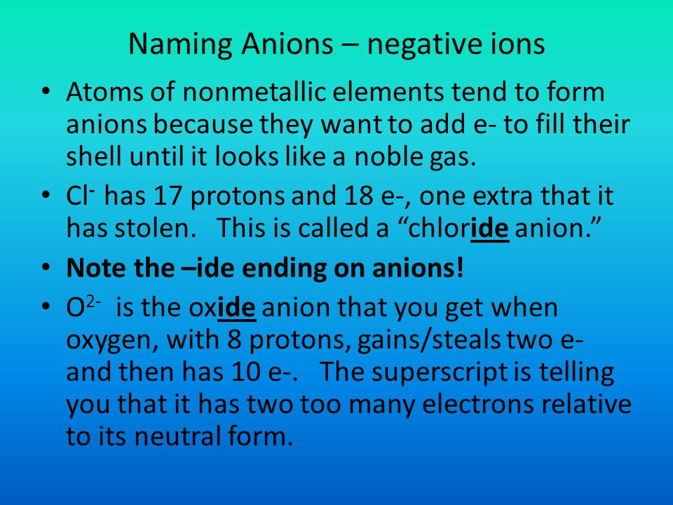 Naming Anions – negative ions