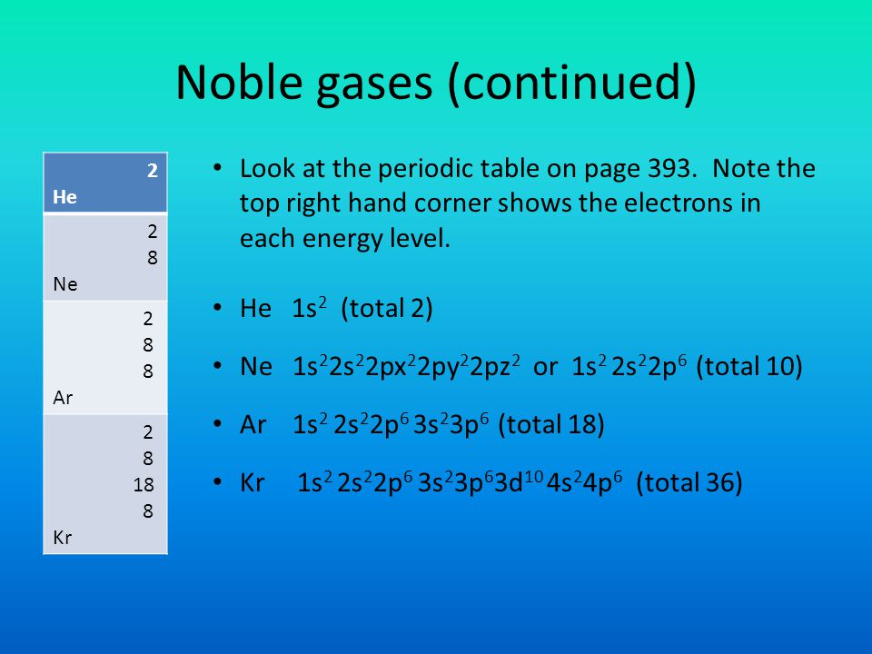 Noble gases (continued)