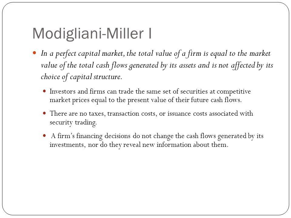 Modigliani-Miller I