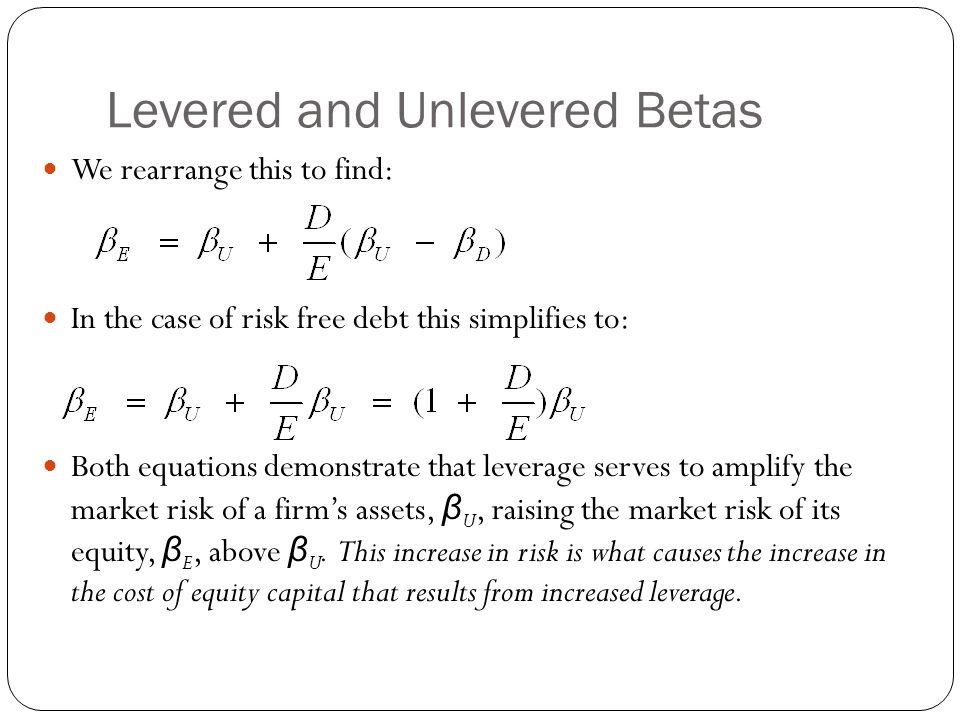 Levered and Unlevered Betas