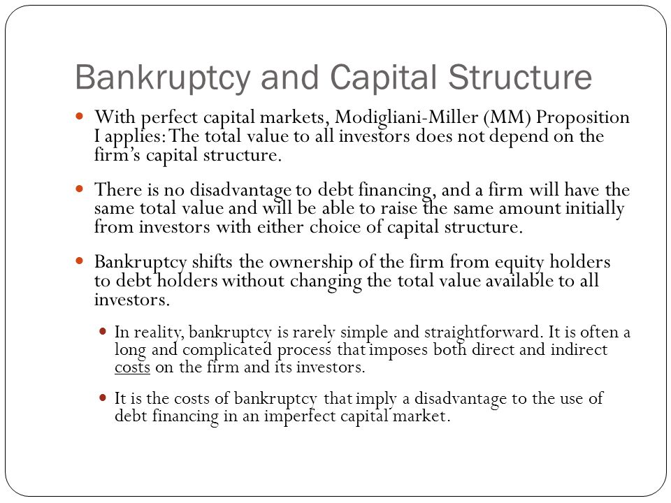 Bankruptcy and Capital Structure