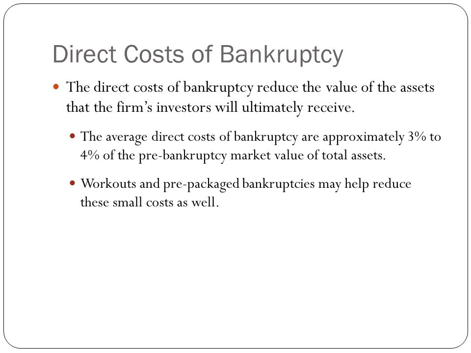 Direct Costs of Bankruptcy