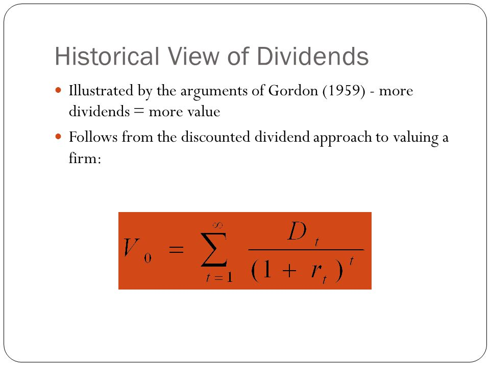 Historical View of Dividends