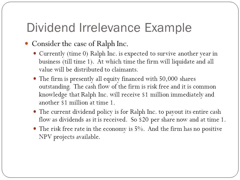 Dividend Irrelevance Example