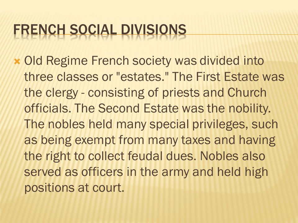 French Social Divisions