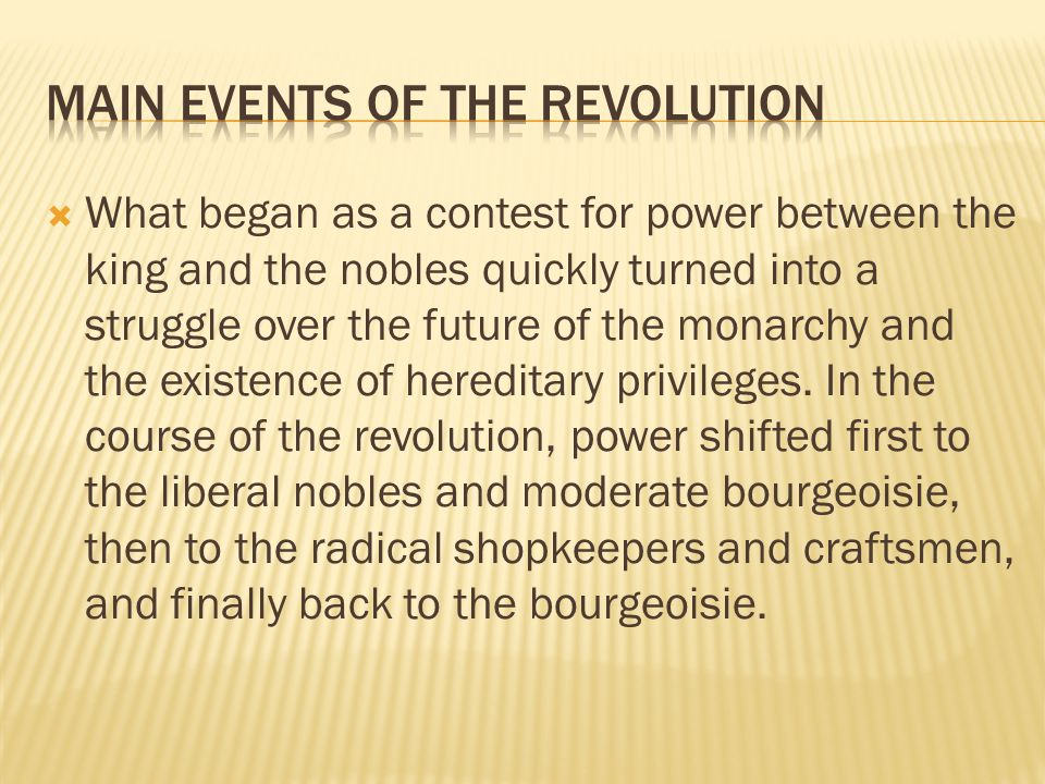 Main Events of the Revolution