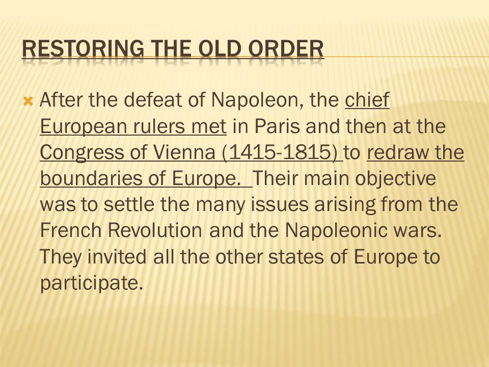 Restoring the Old Order