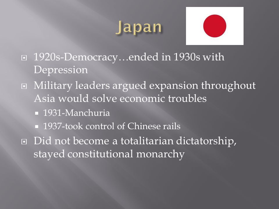Japan 1920s-Democracy…ended in 1930s with Depression