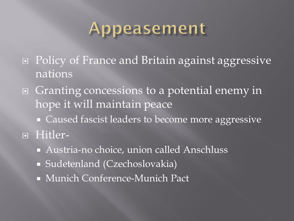 Appeasement Policy of France and Britain against aggressive nations