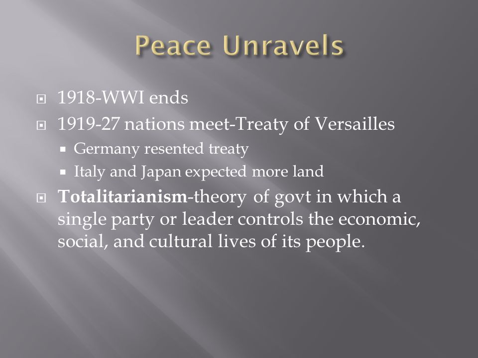 Peace Unravels 1918-WWI ends 1919-27 nations meet-Treaty of Versailles