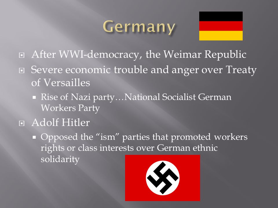Germany After WWI-democracy, the Weimar Republic