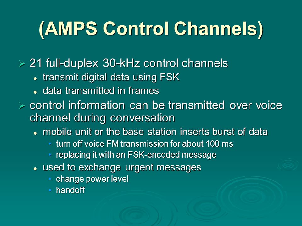 (AMPS Control Channels)
