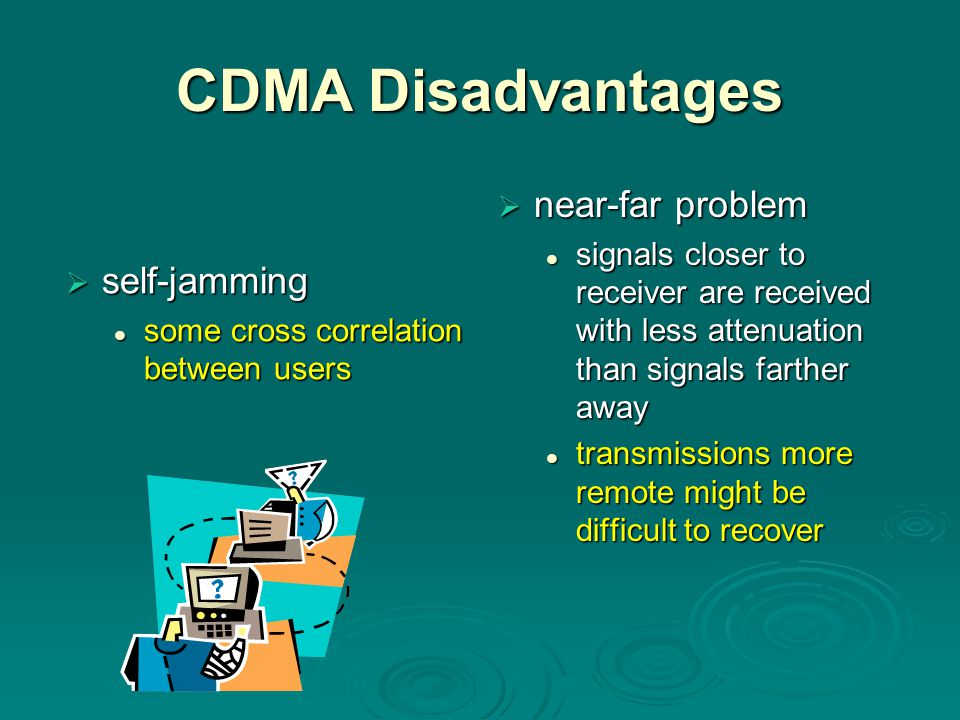 CDMA Disadvantages near-far problem self-jamming