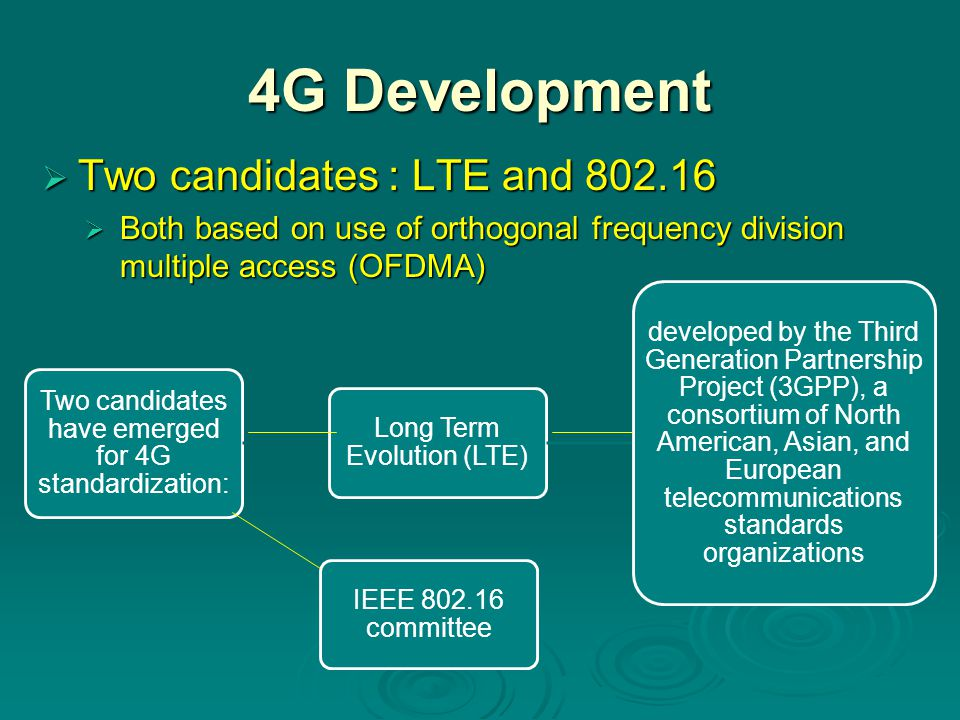 4G Development Two candidates : LTE and 802.16