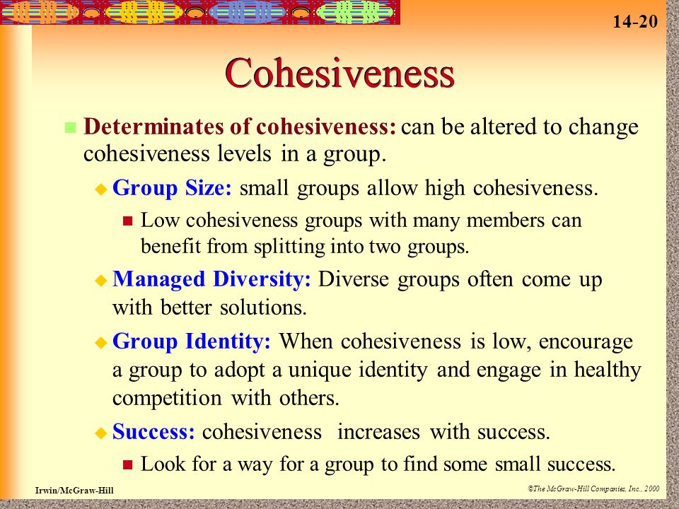 Cohesiveness Determinates of cohesiveness: can be altered to change cohesiveness levels in a group.