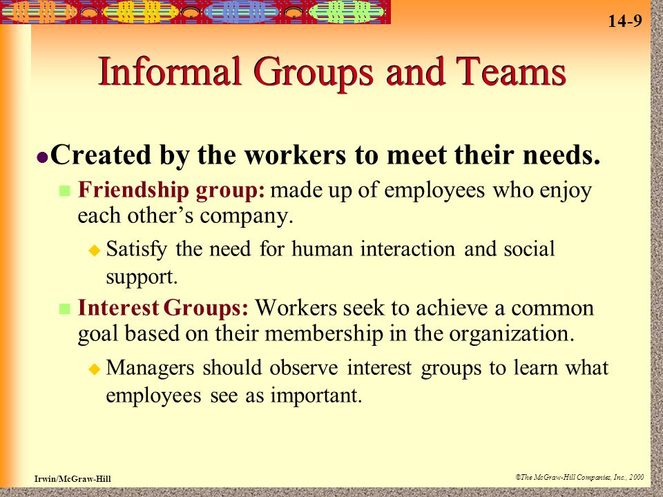 Informal Groups and Teams