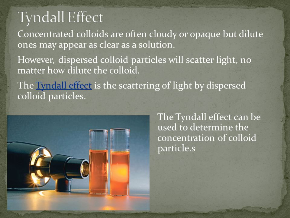 Tyndall Effect Concentrated colloids are often cloudy or opaque but dilute ones may appear as clear as a solution.