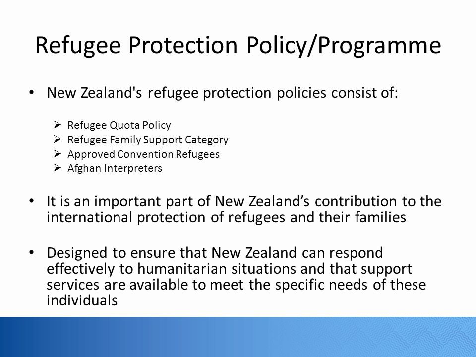 Refugee Protection Policy/Programme