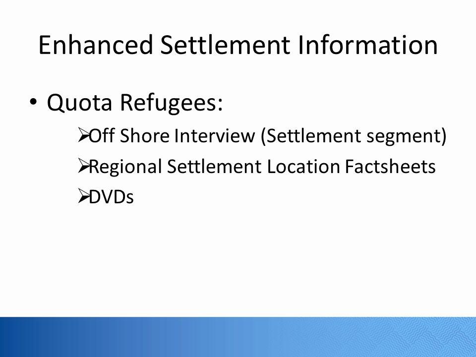 Enhanced Settlement Information