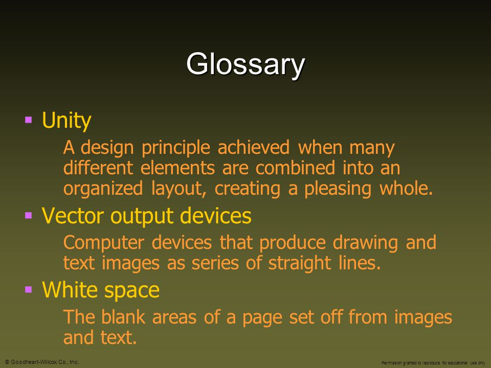 Glossary Unity Vector output devices White space