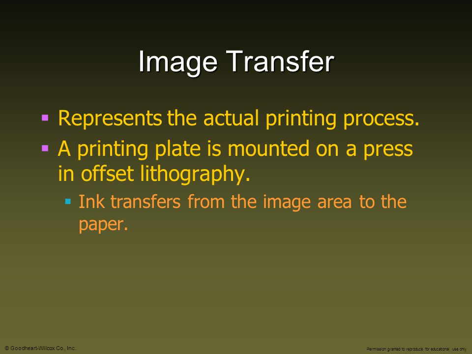 Image Transfer Represents the actual printing process.
