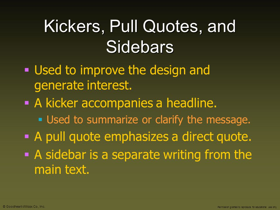 Kickers, Pull Quotes, and Sidebars