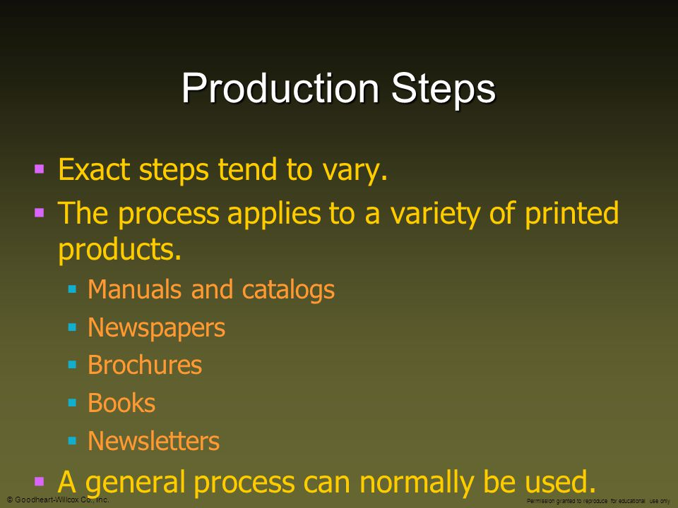 Production Steps Exact steps tend to vary.