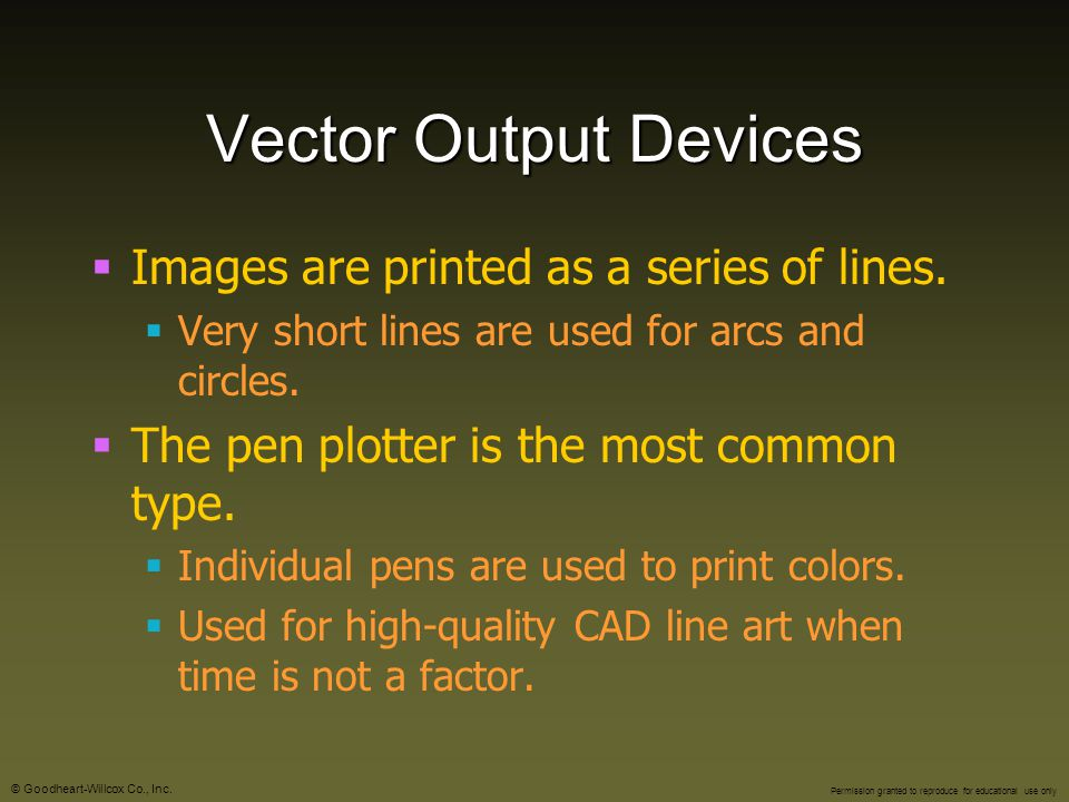 Vector Output Devices Images are printed as a series of lines.