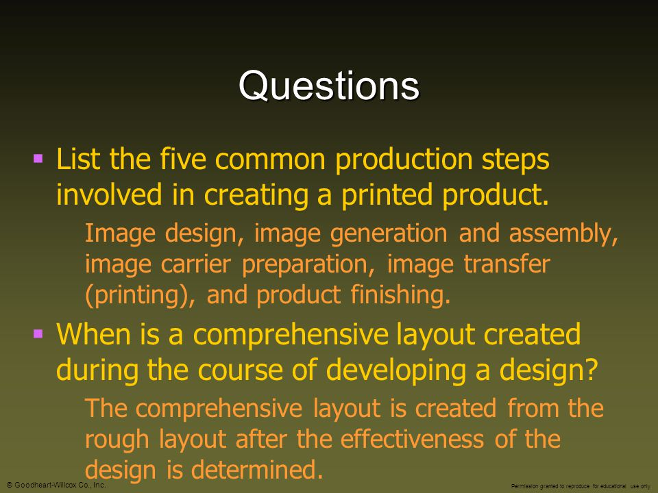 Questions List the five common production steps involved in creating a printed product.