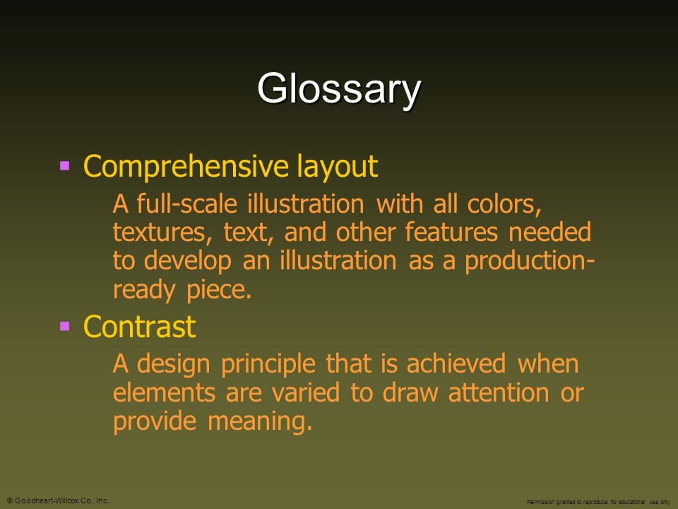 Glossary Comprehensive layout Contrast