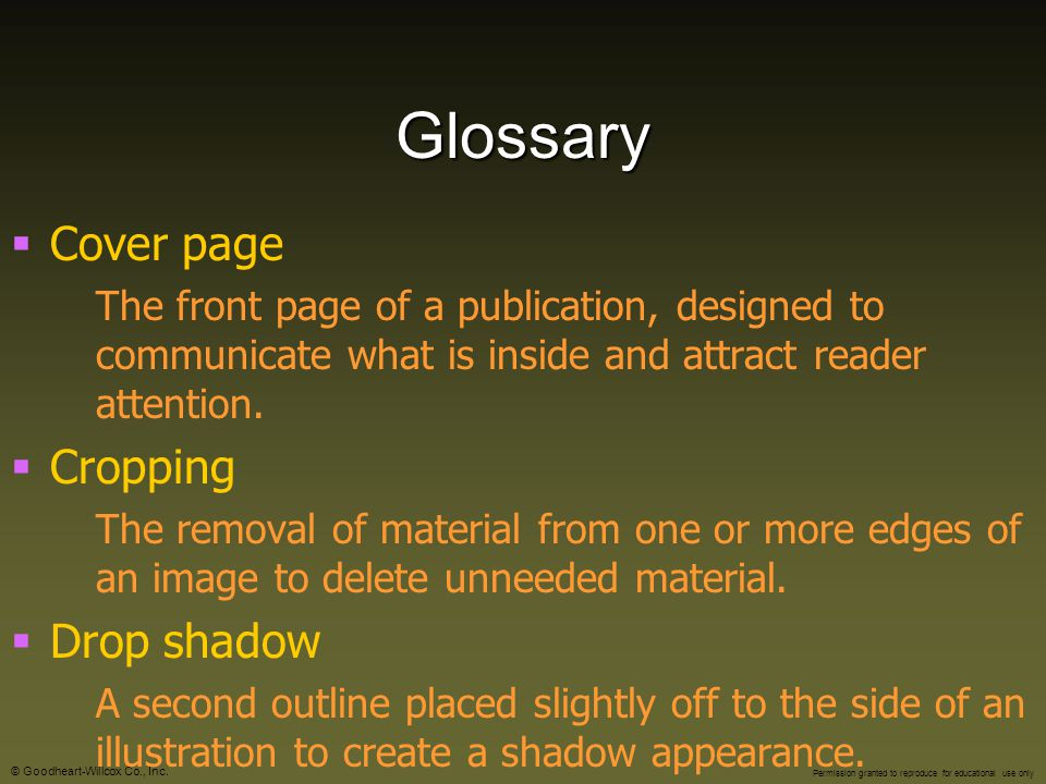 Glossary Cover page Cropping Drop shadow