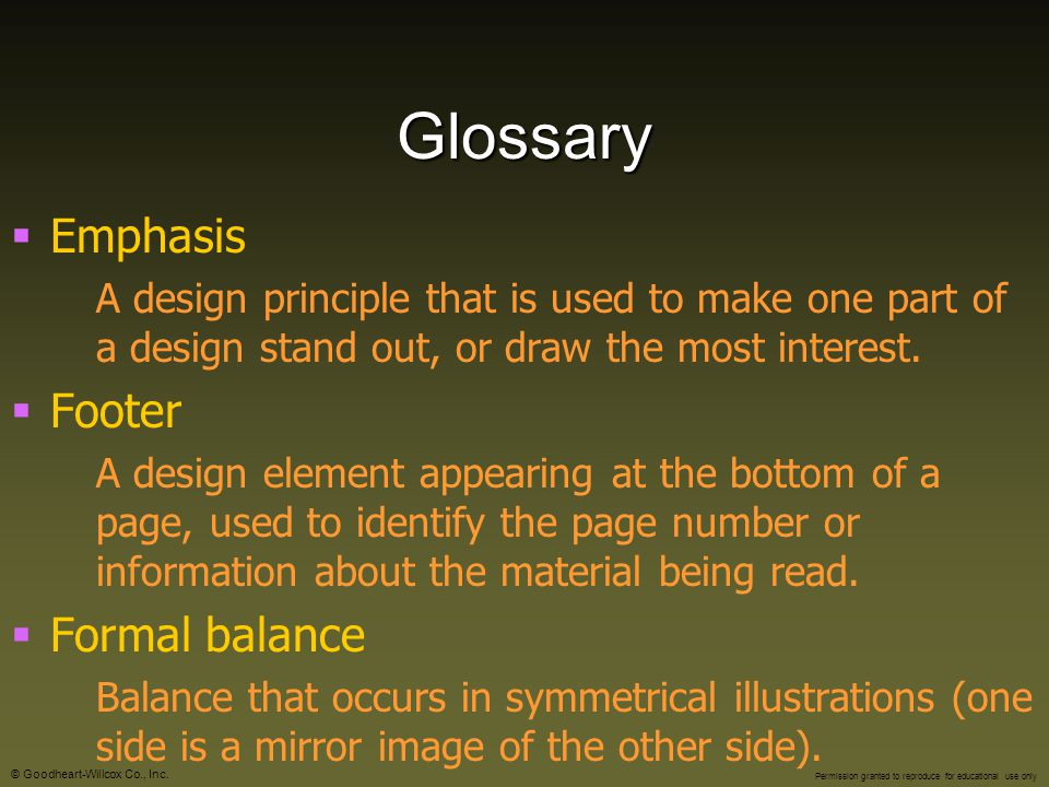 Glossary Emphasis Footer Formal balance