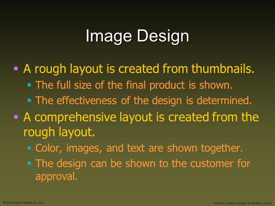 Image Design A rough layout is created from thumbnails.